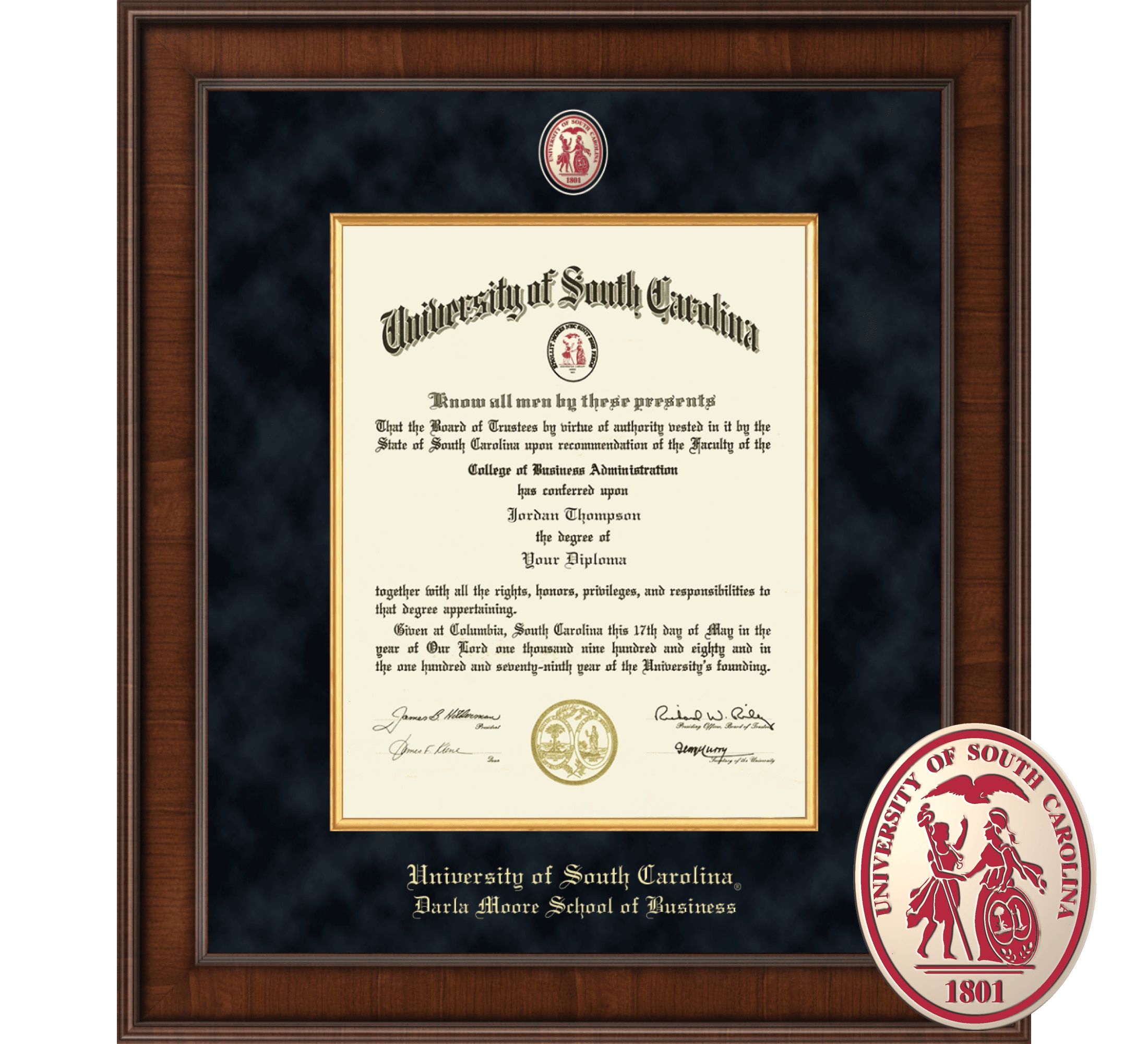 "Church Hill Classics 14"" x 11"" Presidential Walnut Darla Moore School of Business Diploma Frame"