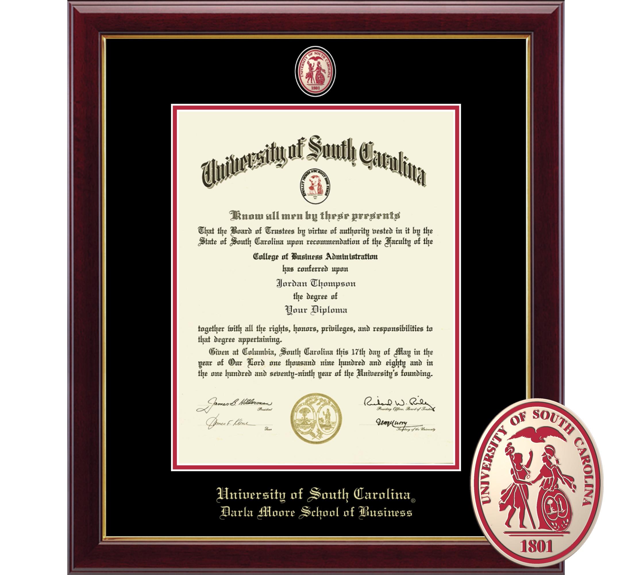 "Church Hill Classics 14"" x 11"" Masterpiece Cherry Darla Moore School of Business Diploma Frame"