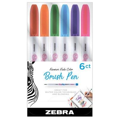 Zebra Funwari Single Ended Super Fine Brush Pen Assorted 6Pack