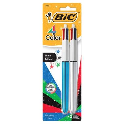 BIC 4Color Shine Ball Pen Medium Point Metallic Barrel 2Pack