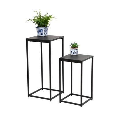 Set of 2 Square Side Tables in Black