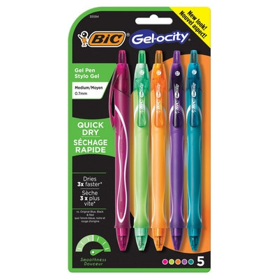 BIC Gelocity Quick Dry Retractable Fashion Gel Pen 0.7mm Assorted 5Pack