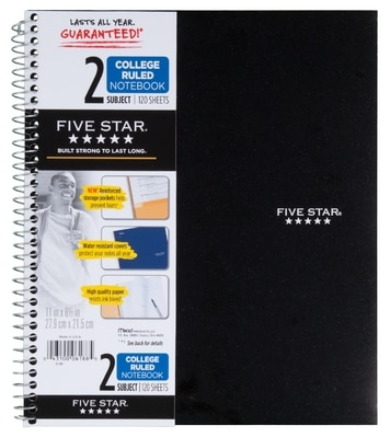 Five Star Wirebound Notebook 2 Subject College Ruled 11 x 8 12 Assorted Colors