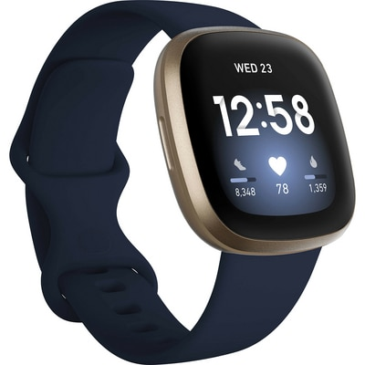 FitBit Versa 3 Health and Fitness Smart Watch in Midnight and Soft Gold