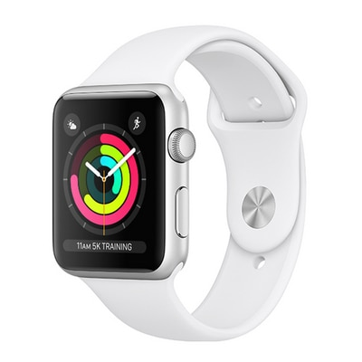 Apple Watch S3 42 mm Silver AL White Sports Band