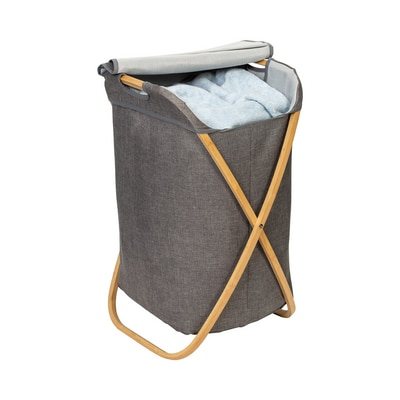 Bamboo and Canvas Hamper in Grey