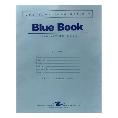 Roaring Spring Blue Exam Book 8.5 x 7 6 Sheets
