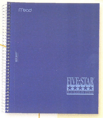 Five Star Wirebound Notebook 5 Subject College Ruled 11 x 8 12 Assorted Colors 200 ct