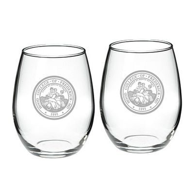 Hood College Official Bookstore Stemless Wine Gl 2-Pack