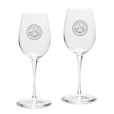 Hood College Official Bookstore White Wine Glass 2pk