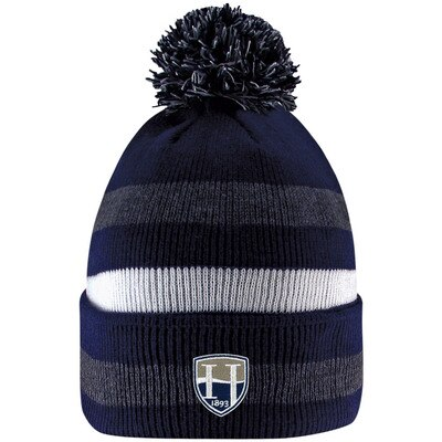 Hood College Official Bookstore LogoFit Primetime Striped Cuff Hat With Pom