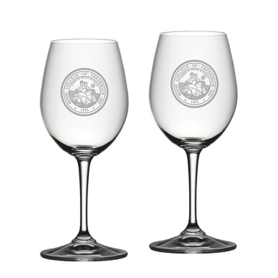 Hood College Official Bookstore Riedel White Wine Glass 2pk