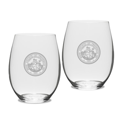 Hood College Official Bookstore Riedel Stemless Wine Glass 2pk
