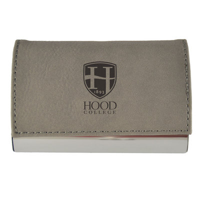 Hood College Official Bookstore Velour Accented Business Card Holder