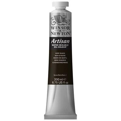 Winsor & Newton Artisan Water Mixable Oil Colours, 200ml Tube, Ivory Black