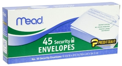 Mead 10in Press-It-Sealed-Boxed-Envelopes-45ct