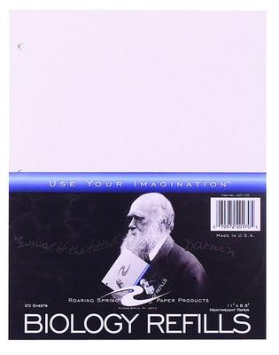 "Biology Filler Paper, 11"" x 8.5"" 20 Sheets, White Index Stock"