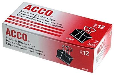 "Acco Medium Binder 1-1/4"" Clips, Steel Wire, 5/8"" Capacity, Black/Silver, 12 Count"