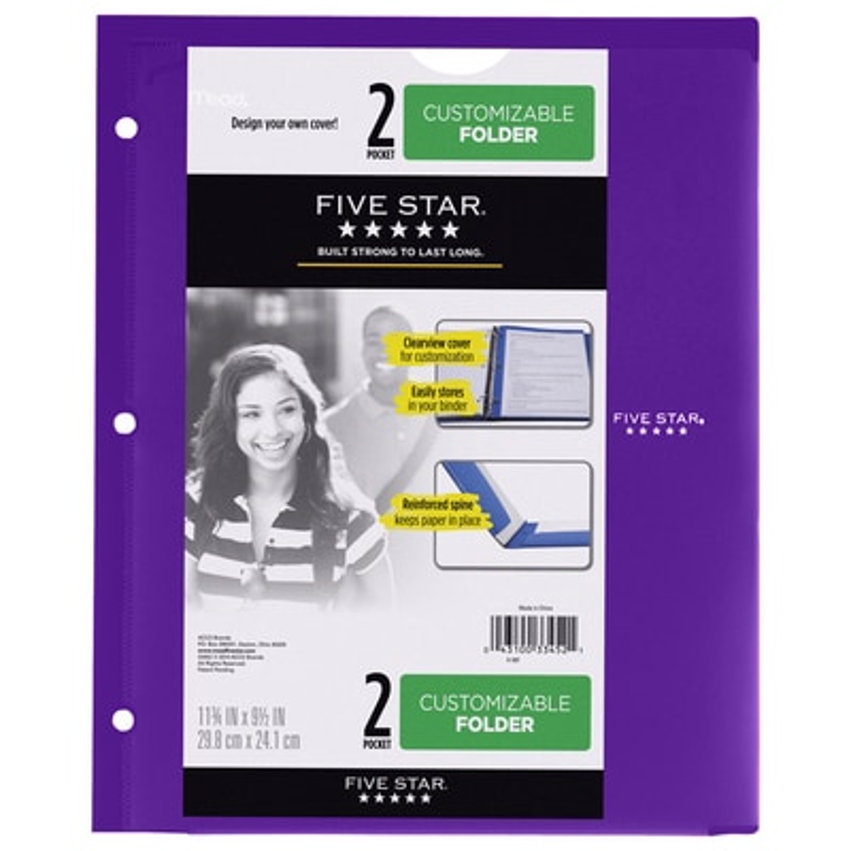 Five Star Customizable Plastic Folder 9 12 x 11 34 Assorted Colors