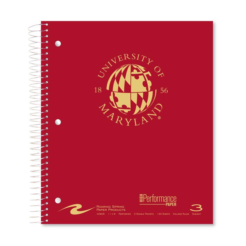 Roaring Premium 3 Subject Notebook 8.5x11 College Ruled  20lb Paper Pressboard Foil Cover