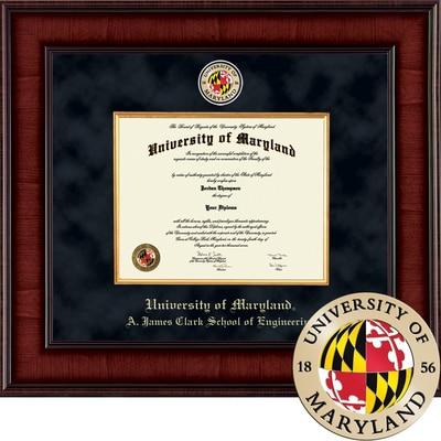 "Church Hill Classics 13"" x 17"" Presidential Mahogany A. James Clark School of Engineering Diploma Frame"