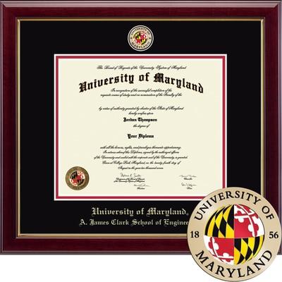 "Church Hill Classics 13"" x 17"" Masterpiece Cherry A. James Clark School of Engineering Diploma Frame"