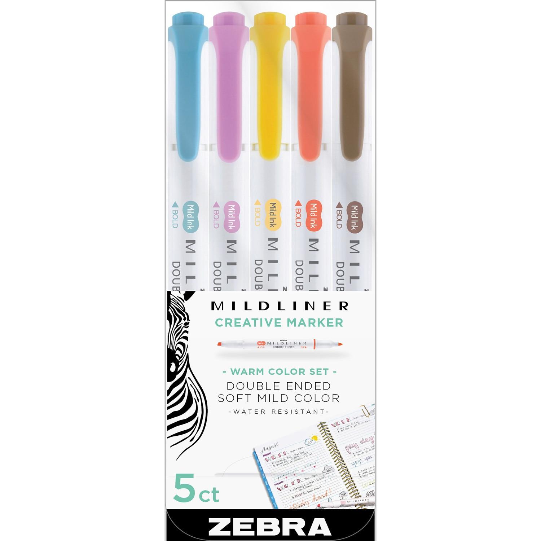 Zebra Mildliner Double Ended Highlighter Assorted Warm Color 5Pack