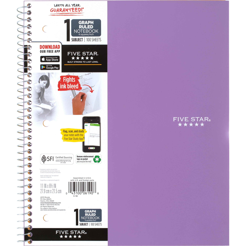 Five StarWirebound Quad Notebook - 1 Subject 100ct