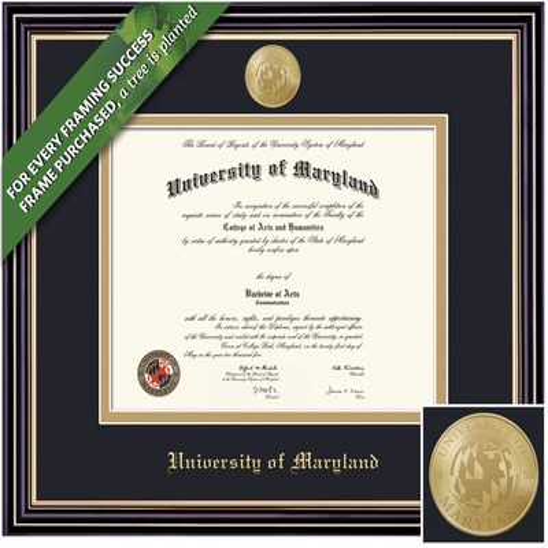 Framing Success 13 x 17 Prestige Gold Embossed School Seal Bachelors, Masters Diploma Frame