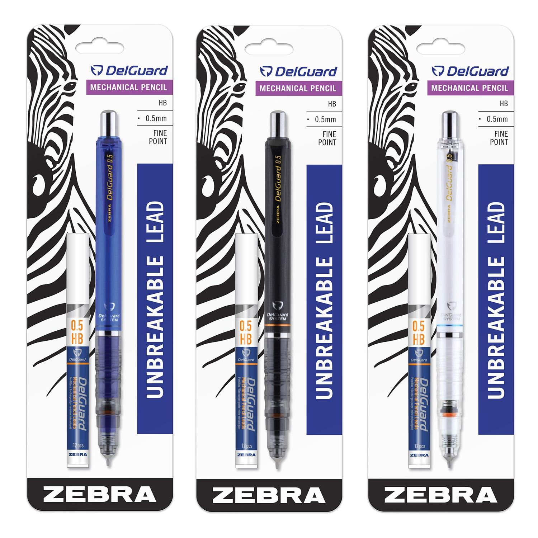 Zebra Delguard Mechanical Pencil 0.5mm with Bonus Lead Assorted Colors