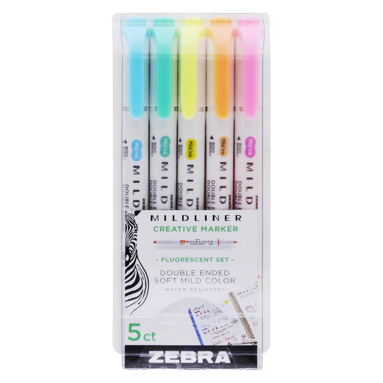 Zebra Mildliner Double Ended FineMedium Highlighter Assorted Fluorescent 5Pack
