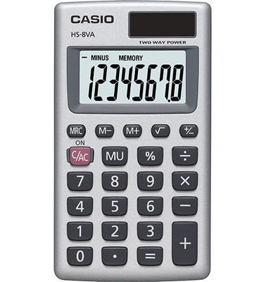 Battery and Solar Power The CASIO HS-8VE calculator operates in well-lit areas using solar cell while in other light settings using battery power. The dual power HS-8VE has a large, easy to read 8-digit display.