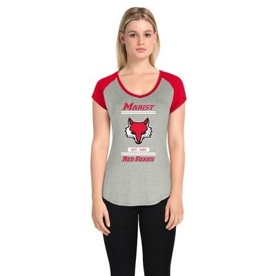 Marist College Women's Color Block Short Sleeve V Neck Featherfeel T Shirt