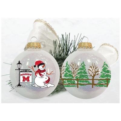 Marist College Snow Sparkle Glass Bulb Ornament with Glitter Tree Snowman wrparound design