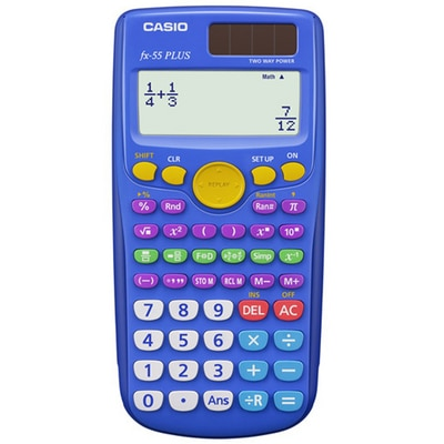 The FX-55 PLUS helps students learn elementary mathematics such as fraction, division with remainder and random numbers. True fraction display helps student understand the mathematics behind improper fractions, mixed fractions and simplification.