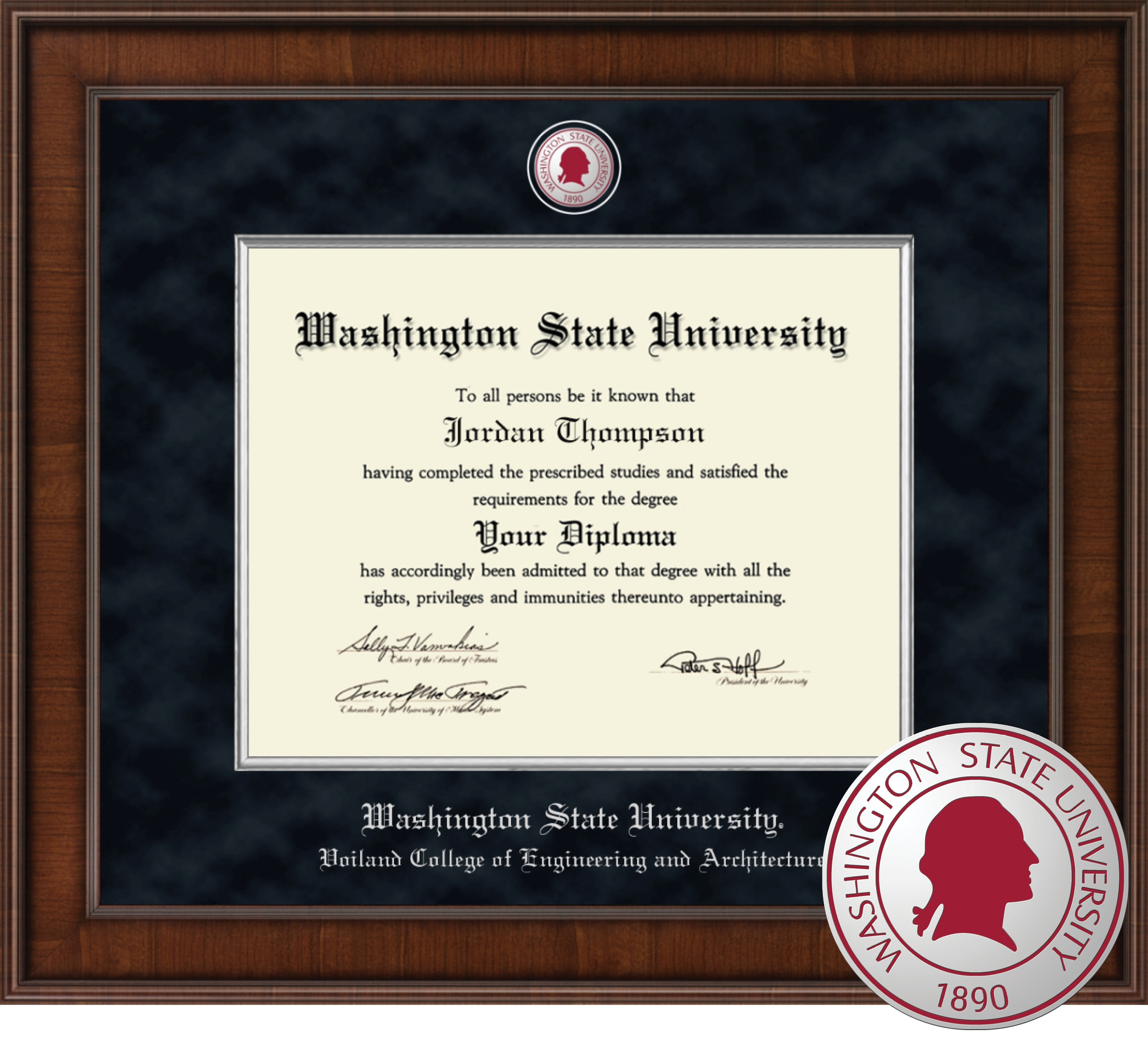 """Church Hill Classics 11"""" x 14"""" Presidential Walnut Voiland College of Engineering and Architecture Diploma Frame"""