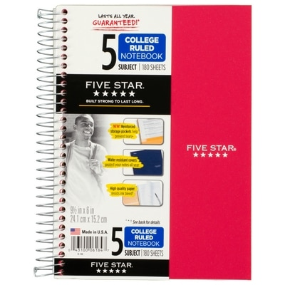 Five Star Wirebound Notebook 5 Subject College Ruled 9 12 x 6 Assorted Colors