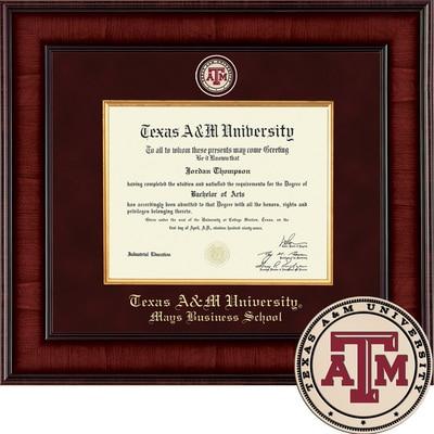 "Church Hill Classics 12.5"" x 16"" Presidential Mahogany Mays Business School Diploma Frame"