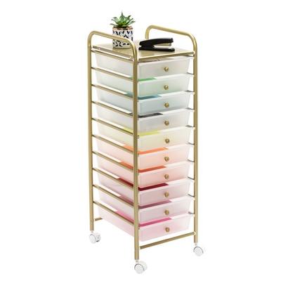 10 Drawer Metal Rolling Storage Cart in Gold