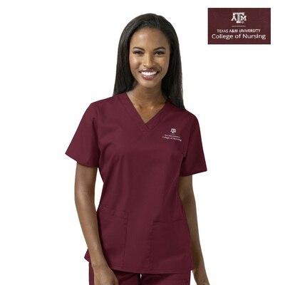 Texas A&M Custom Decorated WonderWink WWK Nursing Women's V-Neck Scrub Top, 101TAM3