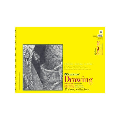 """Strathmore Drawing Paper Pad, 300 Series, 25 Sheets, 18"""" x 24"""", Spiral Bound"""
