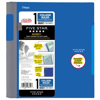 Five Star Advance Wirebound Notebook 1 Subject College Ruled 11 x 8 12 Assorted Colors