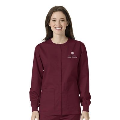 Texas A&M Custom Decorated WonderWink WWK Nursing Unisex Snap Front Scrub Jacket, 800TAM3
