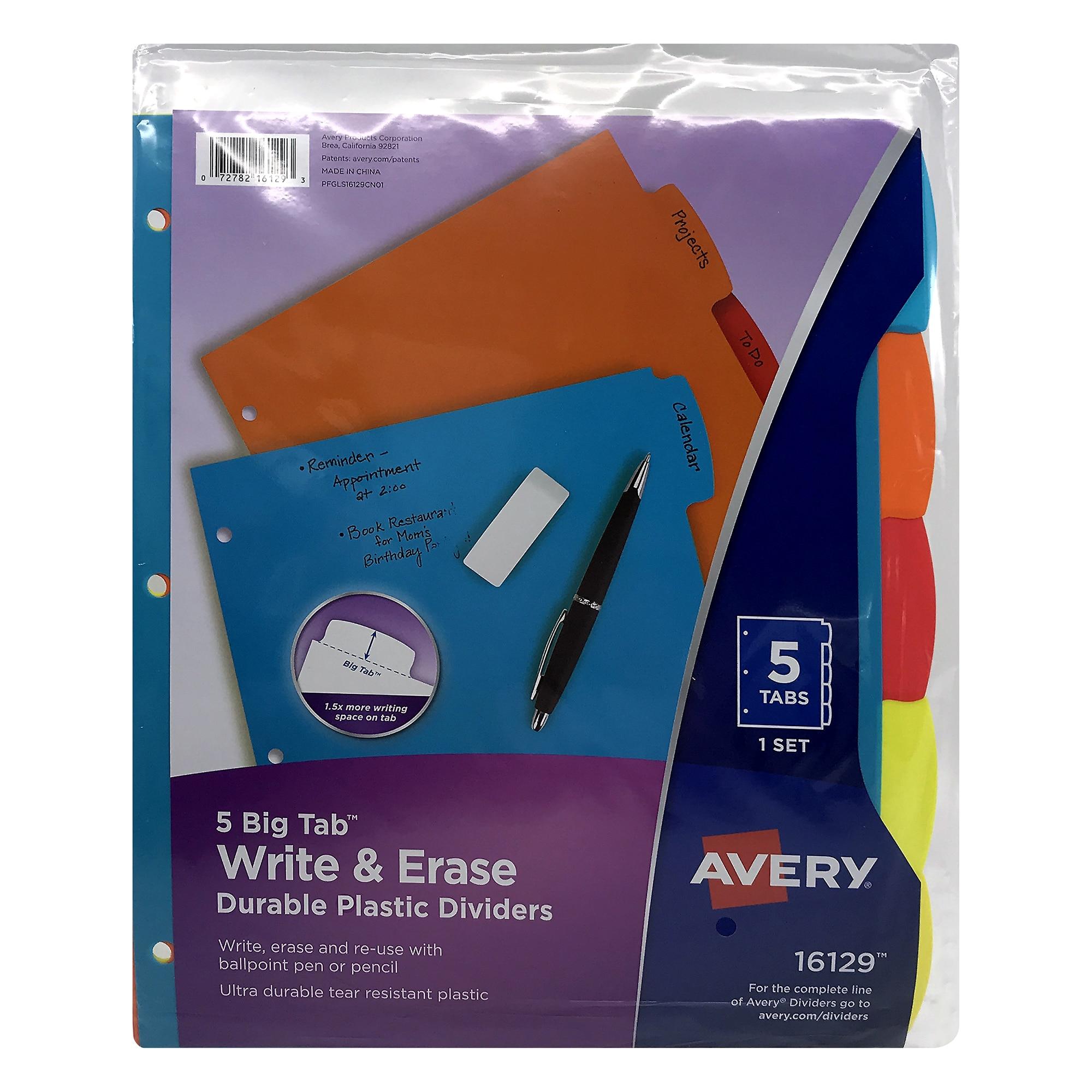 Avery Big Tab Write & Erase Durable Plastic Dividers 5Tab Set Multicolor