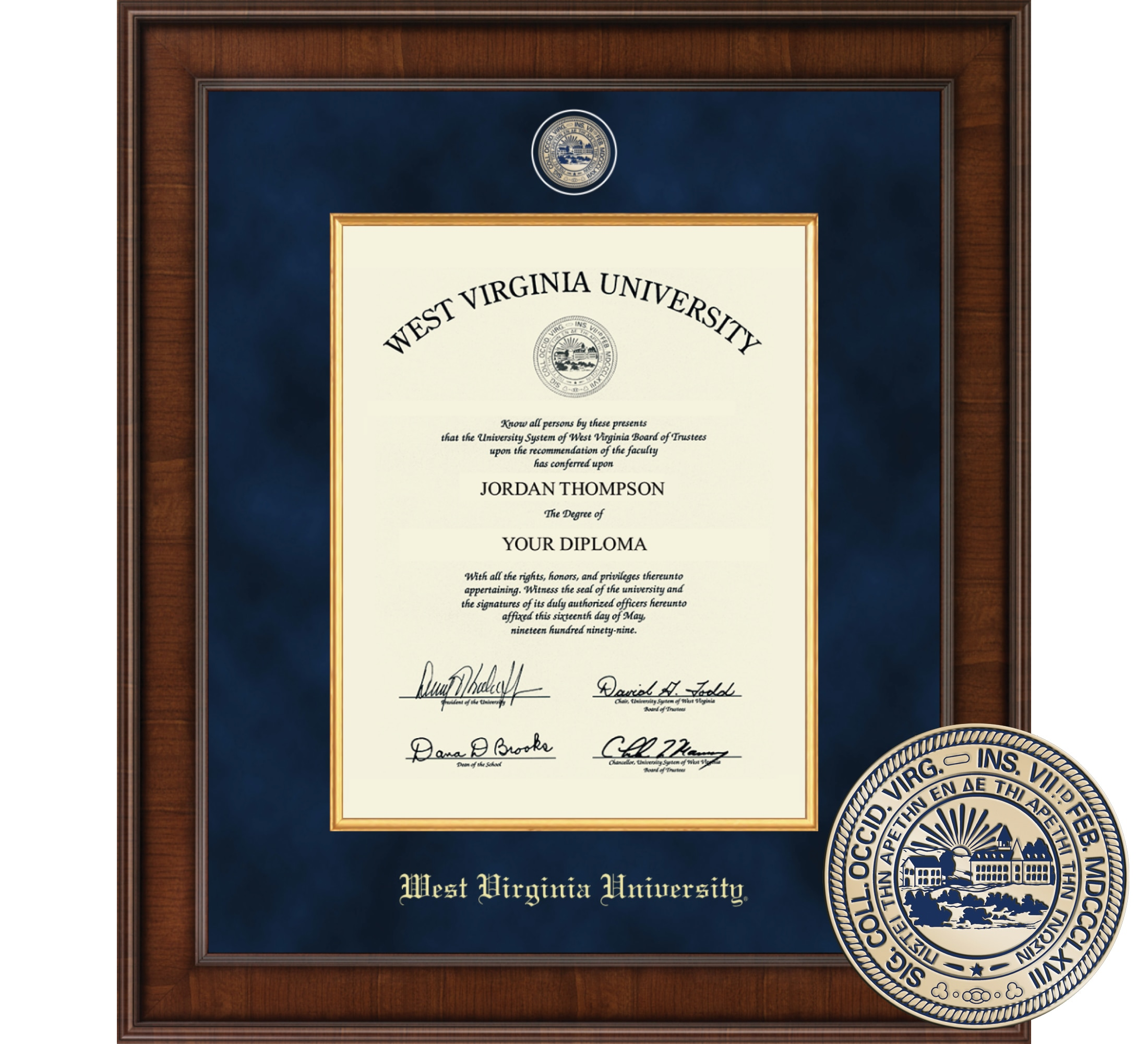 "Church Hill Classics 14"" x 11"" Presidential Walnut Diploma Frame"