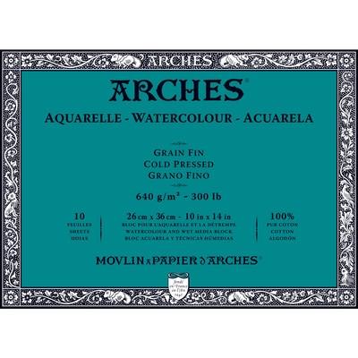 ARCHES WC COLD PRESS BLOCK 300CP 10X14 10SH