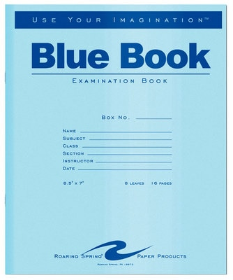 """Test Blue Exam Book, Wide Ruled with Margin, 8.5"""" x 7"""" 8 Sheets/16 Pages, Blue Cover"""