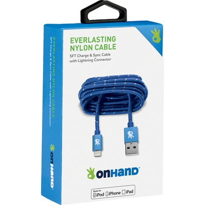 OnHand 5 FT Lightning Cable Blue