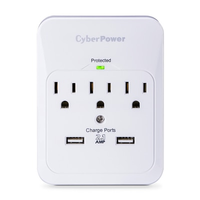 3 Outlet Wall Tap w/ 2 USB Ports