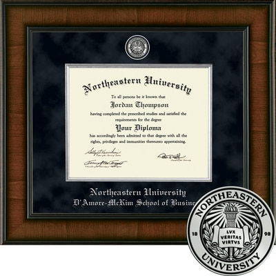"Church Hill Classics 11"" x 14"" Presidential Walnut D'Amore-McKim School of Business Diploma Frame"